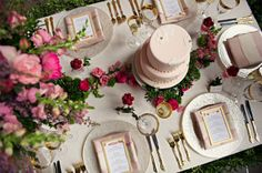 wedding tables, table settings, pink roses, gold weddings, pink cakes, wedding blog, wedding colors, gold tablescap, blush