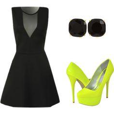vegas outfit?!?? ;)    ustrendy, neon, black, dress, dresses, pumps, mesh, skater dress, party, cocktail