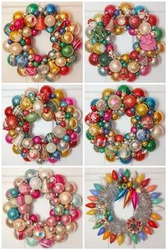 """DIY: Vintage Christmas Ornament Wreaths. Now. to go out and find some unique """"vintage"""" bulbs !! #lulusholiday"""