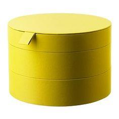 PALLRA pudełko z pokrywką, ciemnożółty Średnica: 22 cm Wysokość: 15 cm