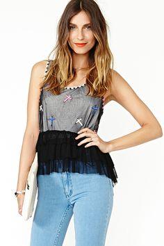 #Ruffled Cross Tank  Summer Shine  #fashion #SummerShine  #nice   www.2dayslook.com