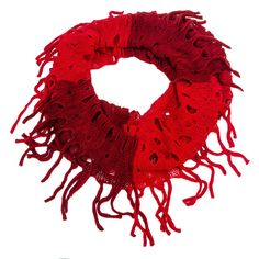 Open Knit Infinity Scarf Red