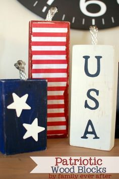 Patriotic USA Wood Block Decorations featured on @CraftGossip via @FamEverAfter