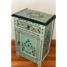 Handpainted Aqua Multicolor Moroccan Arabesque Wooden End Table (Morocco) | Overstock.com