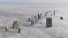 Dubai skyline above the clouds!