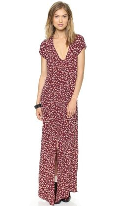 Flynn Skye •  Eterie Maxi Dress • Rusty Dawn • Tiny florals lend graphic texture to a full-length dress. A back cutout and a front slit add a sexy finish. Covered-button placket. Cap sleeves. Unlined. $172.00