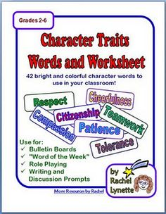 Character Education Ideas, Worksheet, and Words!
