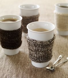 re-use old sweaters by cutting them up & making them coffee cup warmers