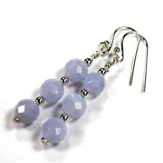 Faceted Blue Lace #Agate #Earrings with #Sterling Silver #Handmade by #covergirlbeads #Jewelry on #ArtFire