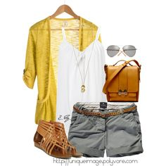 i like the yellow sweater with the grey shorts :))