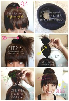 Sock Bun Tutorial - because I need this . . . because I'm stupid.