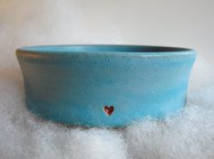 Stoneware Clay Pottery - Turqoise Dish and with small heart..found on Esty