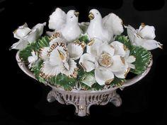Capodimonte Floral Centerpieces | Capodimonte Large Dove Floral Centerpiece(cb260BS) (CB-260-BS)