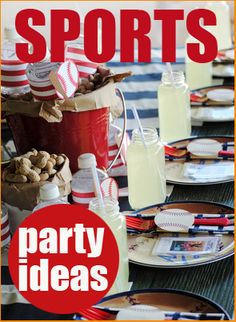 Awesome ideas for a sports parties, baseball, football, soccer, and golf.  Thinking I'll use these ideas for Gage's next party.