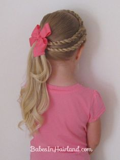 Double Twists and Ponytail & Tons of other adorable little girls hair do's