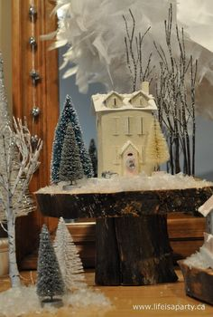 -Christmas Glitter Houses in the Woods