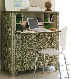 decoupage desk from a dresser