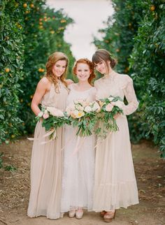 Natural and neutral. Photography: Carmen Santorelli Photography - carmensantorellistudio.com  View entire slideshow: 15 Bridesmaid Looks We Love on http://www.stylemepretty.com/collection/289/