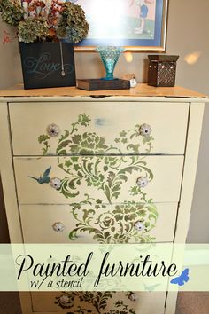painted furniture with a stencil. Create a hand painted look in minutes of your time.