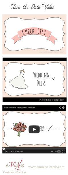 """Un'idea originale, personalizzata e low cost: Video partecipazioni """"Save The Date""""  Originelles Save the Date Video für Deine Hochzeit! by e-MoVeo Cards http://www.emoveo-cards.com/it/prodotti/video/wedding-checklist-detail http://www.emoveo-cards.com/de/produkte/videos/wedding-checklist-detail"""