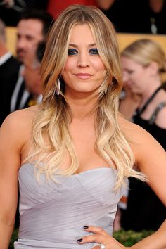 hair colors, eye makeup, kaley cuoco, kaleycuoco, ombre hair, red carpets, sag award, blond, makeup looks