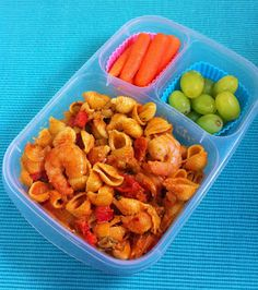 Spicy Garden Pasta with Shrimp packed for lunch with @EasyLunchboxes