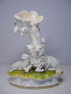 Staffordshire porcelain spill vase figure, Dudson sheep