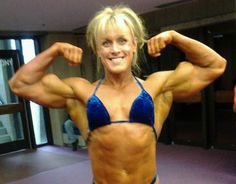 Are these the craziest biceps in female bodybuilding!? Michelle Russell flexing her massive arms at the 2013 Nova Scotia Provincial Bodybuilding Championships