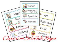 Classroom schedule cards.