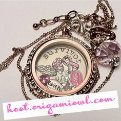 Origami Owl locket for Breast Cancer