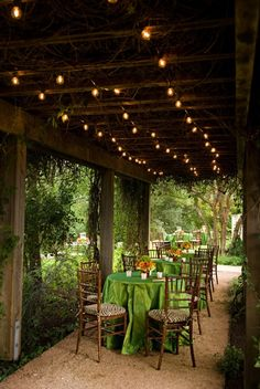 You could do these up under the porch at the ranch house so you dont have those offensive flourescent lights on!    Event Design  By / caplanmiller.com
