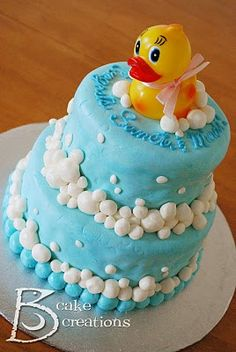 Jaybird Creations: Cake Decorating - Rubber Ducky Baby Shower Cake & Cupcakes