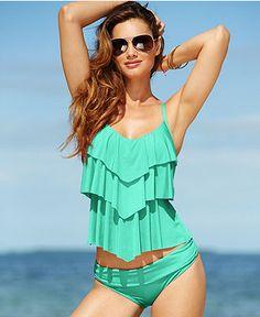 Kenneth Cole Reaction Tiered Ruffle Tankini Top & Hipster Bikini Bottom - Swimwear - Women - Macy's