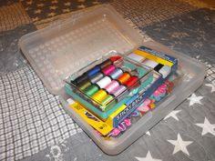 Pencil boxes for sewing storage.