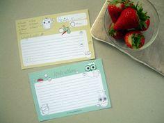 Free printable recipie cards in a super cute owl design