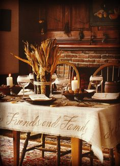 """Harvest Tablecloth - made from burlap - photo inspiration only - cut burlap to size you need; pull threads  on each edge to create fringe; stencil large """"Family and Friends"""" on sides - be thankful!"""