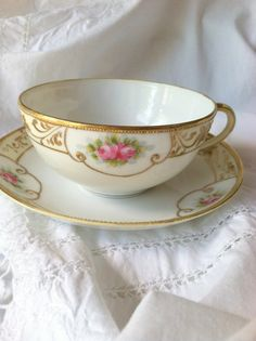 Antique Hand Painted Nippon Tea Cup and Saucer/Circa 1900's