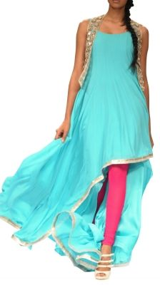 Asymmetric Blue Salwar Suit | Strandofsilk.com - Indian Designers PAYAL SINGHAL