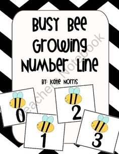 Busy Bee Growing Number Line from Teaching Resources by Katie Norris on TeachersNotebook.com (93 pages)  - This fun colorful set of number cards is great for any elementary classroom. It is helpful to use during calendar time to keep track of how many days in school, to create your own 100s table on the wall, or even for number recognition practice.