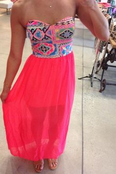 Cute patterned bright pink maxi dress