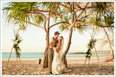 Passion under the Pandanus on Sunset Beach  #kingfisherbay #fraserisland #destinationwedding #fraserislandwedding #fraserwedding http://www.fraserislandweddings.com.au/