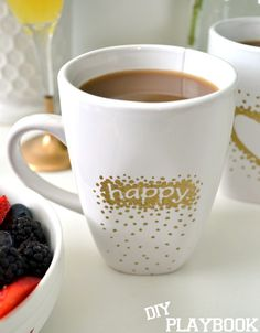 Use a gold oil-based sharpie to jazz up a plain coffee mug. This one makes us extra happy!