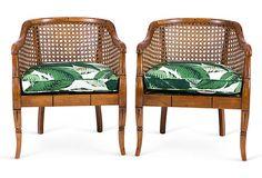 Banana Leaf Bamboo Barrel Chairs, Pair
