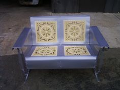 Ready And Available.Lavender/Cream/Yellow Powdercoated Resotred Vintage Porch Glider.Beautiful...www.retrovintagepatio.com