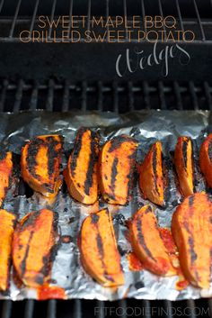 Sweet Maple BBQ Grilled Sweet Potato Wedges made with homemade BBQ sauce! via http://FitFoodieFinds.com #BBQ #Barbeque #Grills #BBQRecipe #BBQAprons