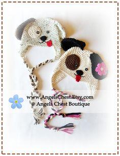 $5.00 Crochet PUPPY DOG Hat PDF Pattern Sizes Newborn to Adult Boutique Design - No. 33 by AngelsChest