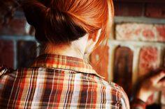 cute and easy hair bun!! short hair, hair tutorials, hair colors, red hair, gibson tuck, gibson girl, long hair, hairstyle tutorials, simpl gibson