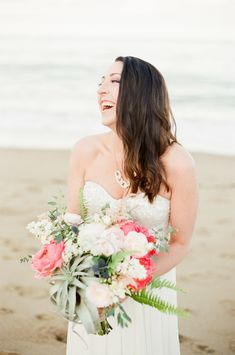 coral peony and air plant bouquet Photography: Ruth Eileen - rutheileenphotography.com Read More: http://www.stylemepretty.com/2014/07/24/new-england-nautical-meets-west-coast-whimsical-inspiration/