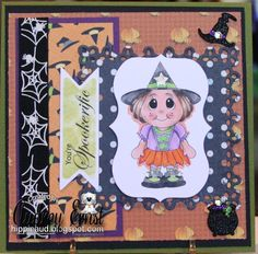 Witch Kiddles with Ghoulish sentiment and pumpkin digi paper  Droppin in Ted and sentiment from www.digitaldelightsbyloubyloo.com