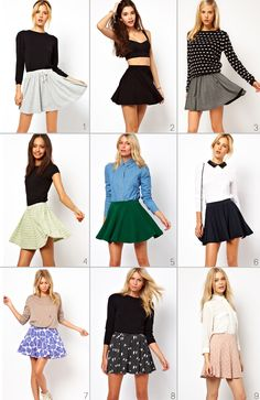 how to actually style skater skirts instead of just wearing brandy crop tops with them!!!!!!!!!!